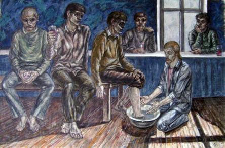 """Стас Басараб, """"Миење на нозете"""", библиски мотив, мешана техника"""